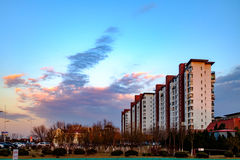 Tianjin city scenery of the city, China. Under the setting sun, the blue sky and white clouds and distant landmark buildings are particularly beautiful scenery Royalty Free Stock Photography