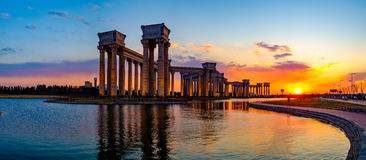 Tianjin city scenery of the city, China. Under the setting sun, the blue sky and white clouds and distant landmark buildings are particularly beautiful scenery Royalty Free Stock Photo