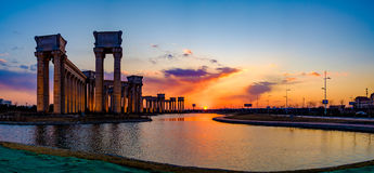 Tianjin city scenery of the city, China. Under the setting sun, the blue sky and white clouds and distant landmark buildings are particularly beautiful scenery Stock Photography