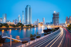 Tianjin cityscape in night falls Stock Image