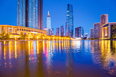 Tianjin financial district at night Stock Photo