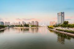 Tianjin haihe river at dusk. Beautiful haihe river and ferris wheel at dusk in tianjin ,China Stock Image