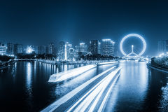 Tianjin haihe river at night Stock Images