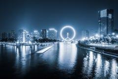Tianjin haihe river at night Royalty Free Stock Photography