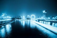 Tianjin haihe river at night. Night scene of haihe river and ferris wheel in tianjin, blue tone Royalty Free Stock Photos