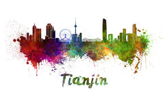 Tianjin horisont i vattenfärg Royaltyfri Foto