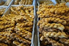 Tianjin Mahua Fried Dough Twist. The famous Tianjin Mahua being displayed in a shop at Tianjin China Royalty Free Stock Image