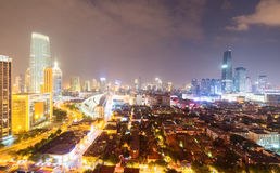 Tianjin at night. Modern city ablaze with lights Stock Photography