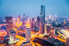 Tianjin at night. Modern city skyline at night in tianjin , streets ablaze with lights Royalty Free Stock Images