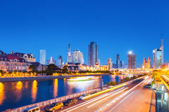 Tianjin night view. Tianjin cityscape of haihe river and city road at night , China Stock Photo