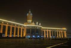Tianjin railway station. At night. Photo taken on:February 10th, 2014 stock photos