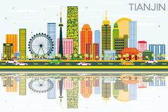 Tianjin Skyline with Color Buildings, Blue Sky and Reflections. Vector Illustration. Business Travel and Tourism Concept with Modern Buildings. Image for stock illustration