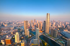Tianjin skyline at dusk. Aerial view of tianjin skyline at dusk, modern buildings in financial district ,China Stock Photos