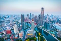 Tianjin skyline at dusk Stock Image