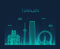 Tianjin skyline vector illustration line art Stock Photography