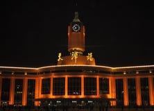 Tianjin staci kolejowej nocy scena obrazy stock