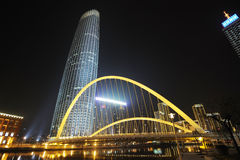 The tianjin tower with bridge Stock Photos