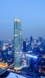 The Tianjin Tower at night. The Tianjin Tower, or Jin Tower or Tianjin World Financial Center is a modern supertall skyscraper located in the Heping Business royalty free stock photo