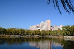 Lake in Tianjin University. AI WAN lake  in Tianjin University Tianjin China  photoed on november 26th 2013 Stock Photo