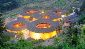 Tianluokeng tulou building group night view, srgb image