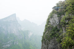 Tianmen mountain, China with scary footpath on a steep cliff Stock Images