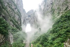 Tianmen Mountain National Forest Park. Misty and foggy Tianmen Mountain in Zhangjiajie, China stock image