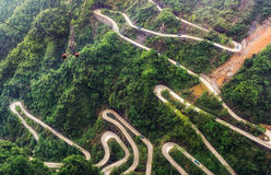 Tianmen mountain winding road Stock Photos