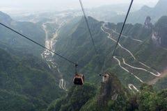 Tianmen mountain winding road Stock Images