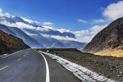 Tianshan Highway. Aka dushanzi-korla highway, as the name suggests, is a northern Kuche highway from Dushanzi. Because this road through the towering Tianshan royalty free stock photography