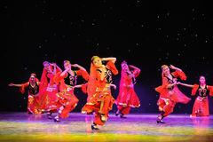 The Tianshan Mountains visitors-Xinjiang national Dance-The campus show Stock Image