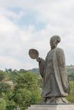 TIANSHUI, CHINA - 6 DE OCTUBRE DE 2014: Estatuas de Zhuge Liang en Tianshui fotos de archivo