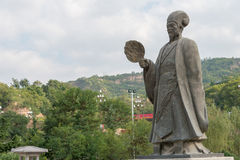 TIANSHUI, CHINA - OCT 6 2014: Statues of Zhuge Liang in Tianshui, Gansu, China. Zhuge Liang (181–234) was a chancellor of the s stock photo