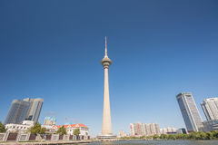 Tianta,TV Tower in Tianjin city,China. Royalty Free Stock Images