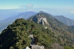 Tiantai TempleÂs Daxiong Baodian, skatt Hall av den stora hjälten, på monteringen Jiuhua, nio härliga berg Royaltyfri Fotografi