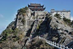 Tiantai TempleÂs Daxiong Baodian, skatt Hall av den stora hjälten, på monteringen Jiuhua, nio härliga berg Royaltyfri Bild