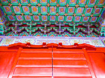 Tiantan park gate roof. Tiantan Park gate wooden colourful roof in Beijing China Royalty Free Stock Image