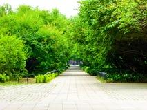 Tiantan park path. Tourists inside Tiantan Park in Beijing China Stock Photo