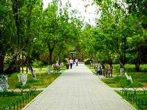 Tiantan park path. Tourists inside Tiantan Park in Beijing China Royalty Free Stock Photography