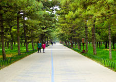 Tiantan park path. Tourists inside Tiantan Park in Beijing China Stock Photography
