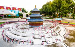 Tiantan temple of heaven at miniature park is an open space that displays miniature buildings and models. PATTAYA CITY, CHONBURI PROVINCE, THAILAND. – On royalty free stock photo