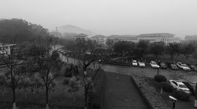 Tianzhu resorts hotel in rain black and white image Stock Images