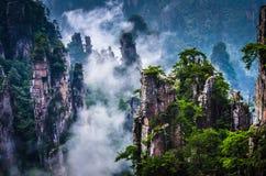 Tianzi Mountain,Zhangjiajie Wulingyuan in China. Zhangjiajie National forest park at sunset, Wulingyuan, Hunan, China.The film Avatar have been shot here by royalty free stock image