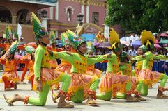 Group of street dancers in various costumes dance at church plaza. Tiaong, Quezon, Philippines - June 22, 2016: a group of street dancers in various costumes Royalty Free Stock Photography