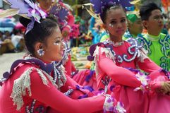 Sitting participant in diverse costumes of street dancer. Tiaong, Quezon, Philippines - June 22, 2016: Sitting participant in diverse costumes of street dancer Royalty Free Stock Photos