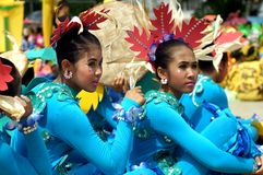 Sitting participant in diverse costumes of street dancer. Tiaong, Quezon, Philippines - June 22, 2016: Sitting participant in diverse costumes of street dancer Stock Photography