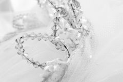 Tiara. Wedding tiara with crystal design in black and white Stock Photo