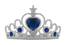 Tiara Blue. Girls Silver Tiara Crown with Blue Heart Isolated on White Background Royalty Free Stock Photography