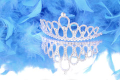 Tiara and blue feather boa Stock Photos