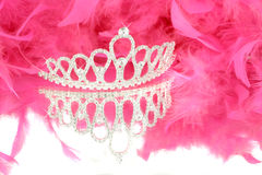 Tiara and boa. Sparkling tiara with reflection and pink boa in background Royalty Free Stock Images