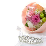 Tiara and bouquet Stock Image